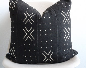 """20"""" x 20"""" African Mudcloth Pillow Cover - Black X Pillow - COVER ONLY"""