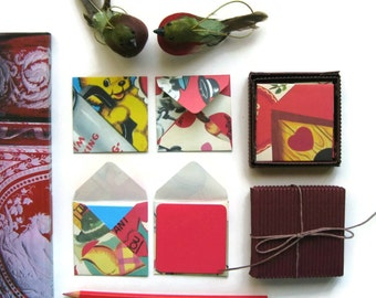 Love Valentine Mini Stationery Set - Blank Note Cards, Colorful, Square Envelopes, I Love You, Small, Greetings, Cute, Gifts Under 15