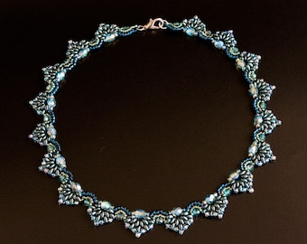 Beaded Necklace in Teal, Dark Ocean Green, Aqua and  Blue Zircon with Faceted and Pearlized Beads. Curve Shape Beadwoven Necklace S254
