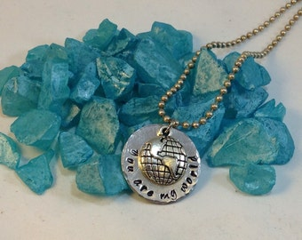You are my world - Hand stamped necklace with charm