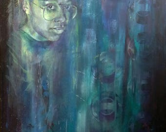 Contemporary painting. Portrait painting in oil on canvas. Blue.