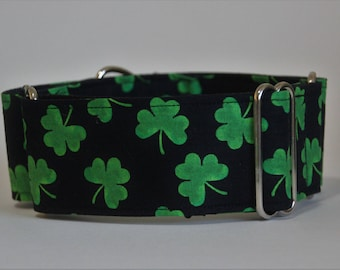 "Greyhound Green Shamrock on Black 2"" Martingale Collar"