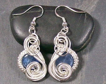 "Kyanite & Sterling Silver Earrings - ""Swish"" Style"
