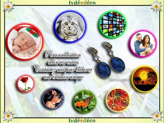 Custom earrings vintage retro resin bronze beads glass pendants 18x25mm pattern choice