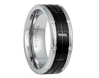Titanium Wedding Band,Mens Wedding Band,Black Titanium Band,Mens Ring,Custom Made,Rings,Bands,Black Titanium Ring,8mm,Handmade,His Hers,Size