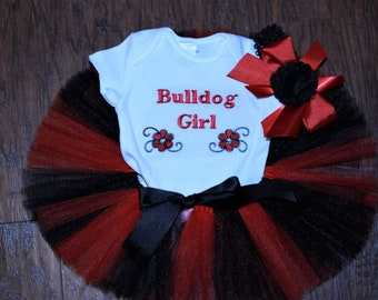 Georgia Bulldogs, Georgia, baby girl clothes, b aby shower gift, baby girl gift, bodysuit, baby tutu, red, black, girl clothes, tshirt