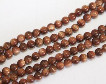 46 PCs gold sandstone beads / gemstones / brown / 8mm  HE28-8