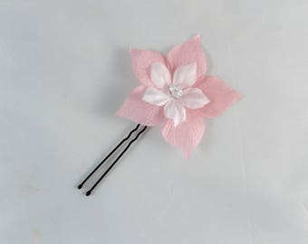 Pink and white silk flower hair stick - customizable