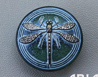 CZECH GLASS BUTTON: 30mm Dragonfly Handpainted Czech Glass Button, Pendant, Cabochon (1)