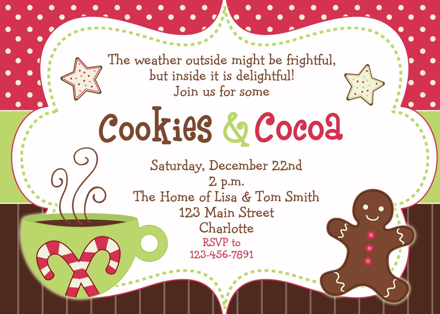 Image Of Christmas Party Invitations For Kids Santa tree rocking ...