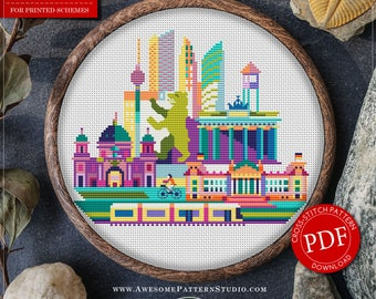 Berlin Cross Stitch Pattern for Instant Download *P151 | Easy Cross Stitch| Counted Cross Stitch|Embroidery Design| City Cross Stitch