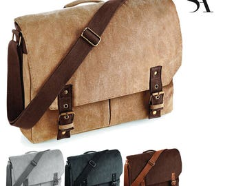 Vintage Canvas Satchel Messenger Bag - Free UK Shipping