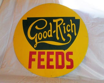 """Vintage 1950's GOOD-RICH FEEDS pig cow feed farm 24"""" metal sign~nice"""