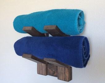 Bath towel holder,  Bathroom towel holder, Country home bathroom holder, Wood towel holder, Handmade wood towel rack