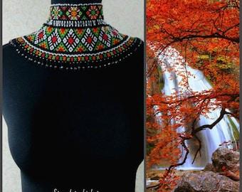 Ukrainian traditional necklace Beaded collar Folk necklace Beaded necklace Beaded necklace Silant Gerdan Colored necklace beaded ornament