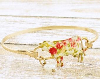 Floral Cow bracelet