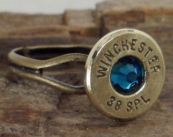 Bullet Jewelry Bullet Ring Winchester 38 SPL Blue Zircon
