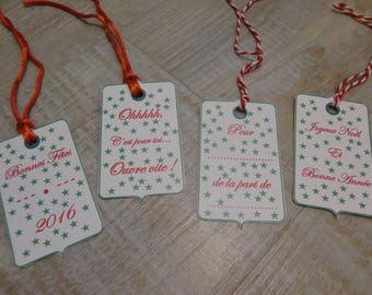 4 tags for gifts - set A - red and green Christmas Theme