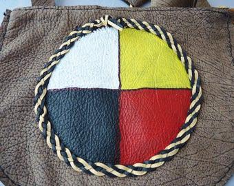 Cutive roue sur peau de buffle, amérindien, regalia, pow-wow, pau wau, soho, boho, drum circle, sac à main tambour moyen, étui souple