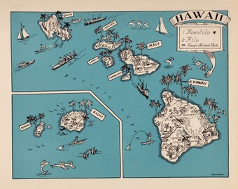 1930's Vintage HAWAII Picture Map of Hawaii State Cartoon Map Print Gallery Wall Art Map Collector Gift for Traveler Birthday Wedding