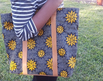 Ghanaian Tote with Ethiopian Leather Strap