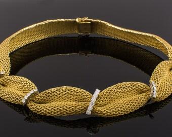 18K Diamond Mesh Necklace Yellow Gold - Gorgeous!