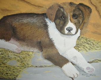 Dog art - Original acrylic painting - Fat Puppy - 8 x 10 inches