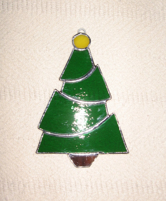 Christmas Tree Ornaments Etsy: Items Similar To Christmas Tree Stained Glass Suncatcher