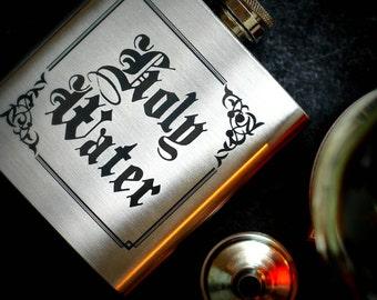 Holy Water Hip Flask, Supernatural, Supernatural Gift, Groomsman gift, Wedding Gift, Best Man Gift, 6oz Drinking Flask, Engraved Hip Flask