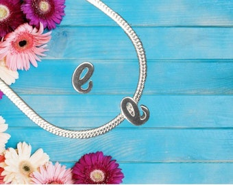 Lowercase 'e' Sterling Silver Charm Necklace With Gift Box