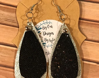 Black and silver faux leather layered earrings