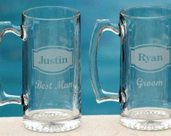 Custom Groomsmen Beer Mugs Best Man Groomsman Gifts Etched Beer Mug 25oz Mug ANY QUANTITY