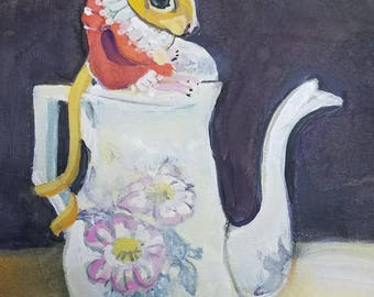 Mouse at Tea Original Watercolor and Gouache Painting