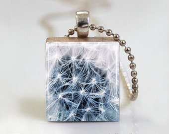 Blue Dandelion Nature Photography -  Scrabble Pendant Necklace with Ball Chain Necklace or Key Ring