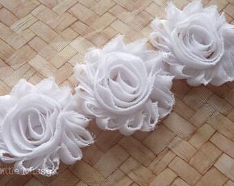 Fabric flowers etsy white shabby flowers shabby chiffon flowers white flower trim chiffon rose flowers mightylinksfo Images