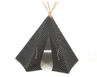 READY TO SHIP Tepee  Play Tent  round wood poles included black mini plus cross - 6 panel