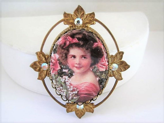 Victorian Revival Portrait Brooch, Porcelain Pin, Girl Face, Rhinestone Surround, Statement Brooch, 60's Large Rhinestone Center