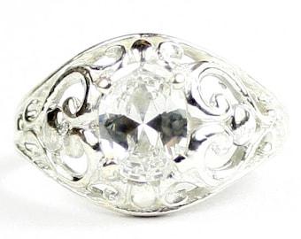 Cubic Zirconia, Sterling Silver Ladies Ring, SR111