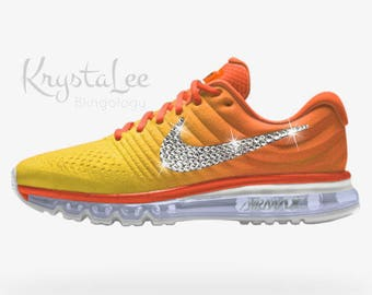 ... reduced aliexpress 81a54 1d536 womens nike air max 2017 id orange  yellow white ombre custom bling 7a99a3e6d