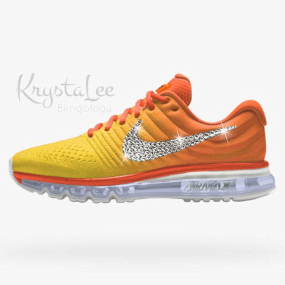 Womens Nike Air Max 2017 iD Orange Yellow White Ombre Custom Bling Crystal  Swarovski Sneakers, Running Shoes, Tennis Shoes, Nikes
