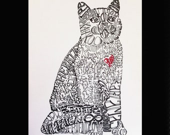Words to Love By - Personalized Calligram Art -  Cats