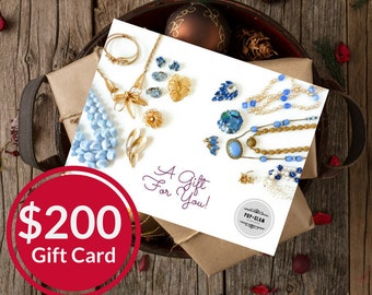 Pop and Glam Vintage Gift Card for 200 Dollars | Gift Certificate | Gift Idea | Stocking Stuffer | Mailed Gift Card