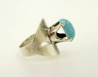 Sterling 925 Persian Turquoise Ring Modernist Design