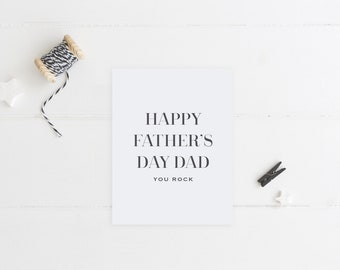Greeting Card, Father's Day Card, Happy Father's Day, Black and White, You Rock, You Rock Dad, Card for Dad, Modern Card