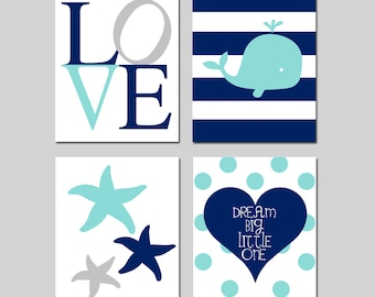 Nautical Nursery Art Baby Boy Whale Nursery Decor Nautical Nursery Decor Whale Nursery Art Set of 4 - Love, Starfish, Dream Big Little One