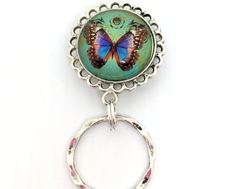 Butterfly on Sea Green Magnetic Eyeglass Holder