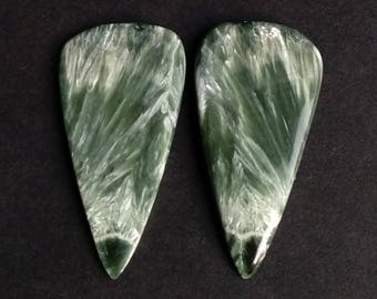Seraphinite Pear Smooth Cabochon, Natural Seraphinite Designer Cabochon Pair, 44x22 MM, 54 Cts, Loose Gemstone Pair.