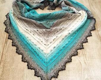 Crochet shawl, grey shawl, lace shawl, crochet wrap, crochet stole, spring wrap, gift for mum, christmas gift, grey wrap