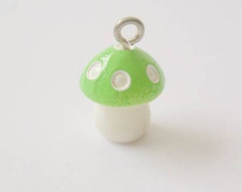 Resin - green white mushroom charm