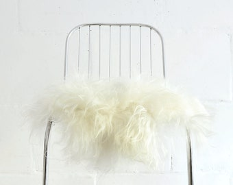 Genuine Icelandic Sheepskin Chair Cover White/ 40 x 40 Centimeters / Sheepskin Chair Throw White / Shaggy Sheepskin.